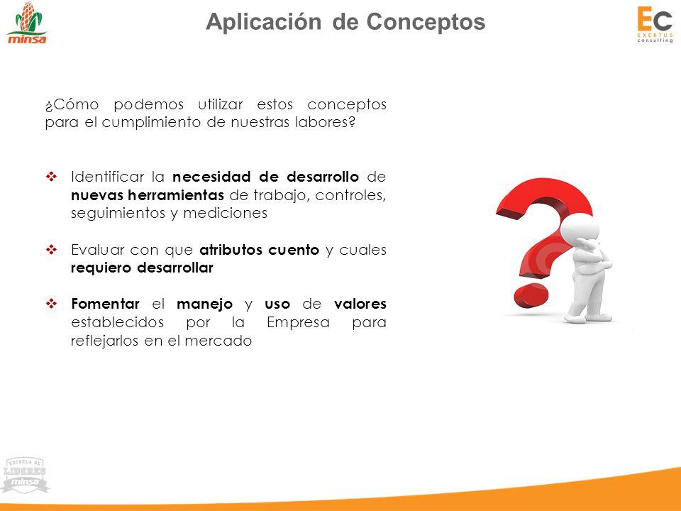 Aplicación de Conceptos ¿Cómo podemos utilizar estos conceptos para el cumplimiento de nuestras labores.