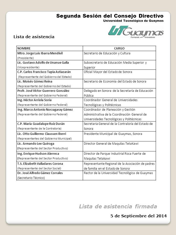 Segunda Sesión del Consejo Directivo Universidad Tecnológica de Guaymas NOMBRECARGO Mtro.