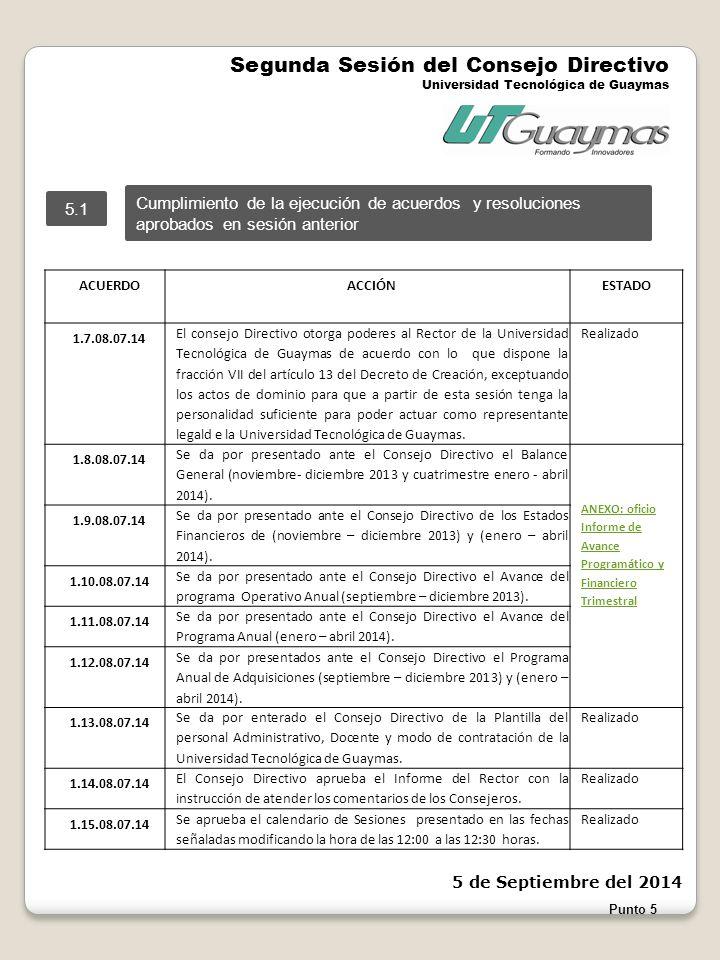 Punto 5 Segunda Sesión del Consejo Directivo Universidad Tecnológica de Guaymas 5 de Septiembre del 2014 ACUERDO ACCIÓNESTADO 1.7.08.07.14 El consejo Directivo otorga poderes al Rector de la Universidad Tecnológica de Guaymas de acuerdo con lo que dispone la fracción VII del artículo 13 del Decreto de Creación, exceptuando los actos de dominio para que a partir de esta sesión tenga la personalidad suficiente para poder actuar como representante legald e la Universidad Tecnológica de Guaymas.