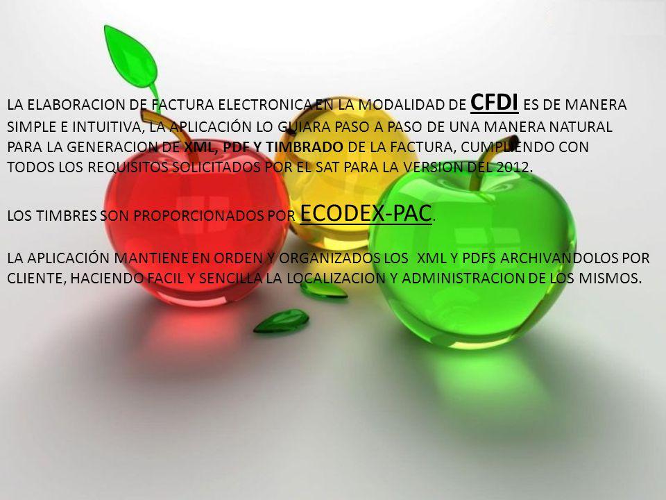 LA ELABORACION DE FACTURA ELECTRONICA EN LA MODALIDAD DE CFDI ES DE MANERA SIMPLE E INTUITIVA, LA APLICACIÓN LO GUIARA PASO A PASO DE UNA MANERA NATURAL PARA LA GENERACION DE XML, PDF Y TIMBRADO DE LA FACTURA, CUMPLIENDO CON TODOS LOS REQUISITOS SOLICITADOS POR EL SAT PARA LA VERSION DEL 2012.