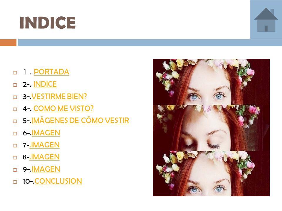 INDICE  1-. PORTADA PORTADA  2-. INDICEINDICE  3-.VESTIRME BIEN VESTIRME BIEN.