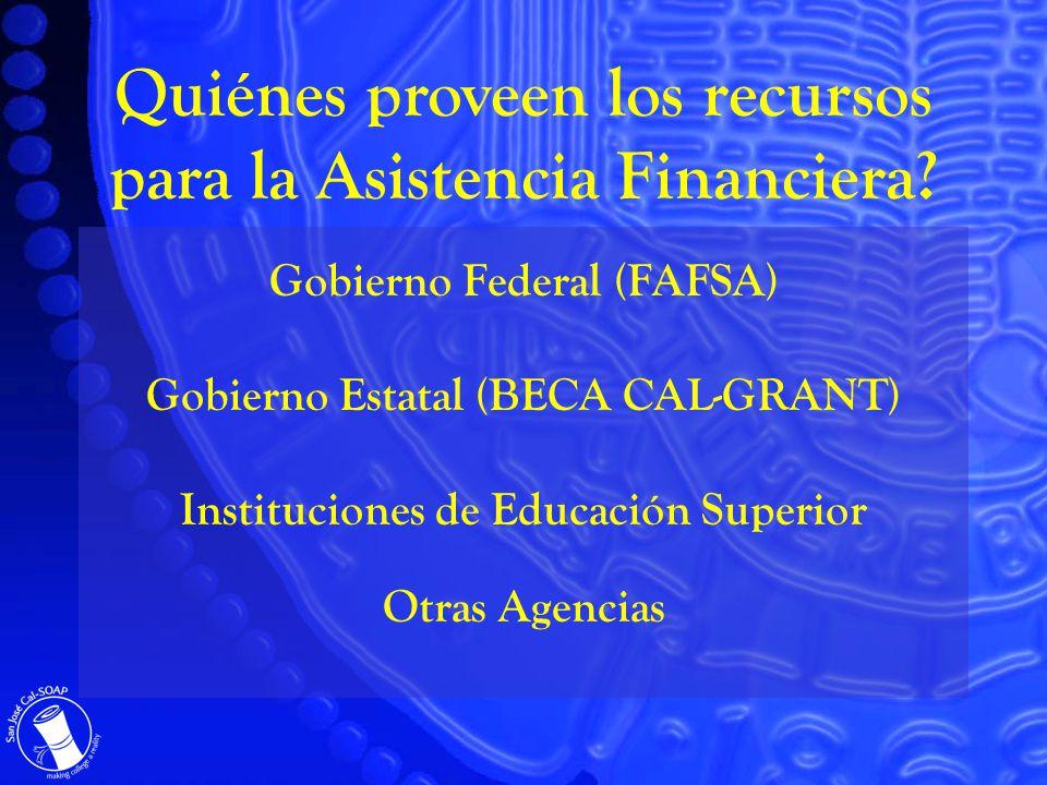 Gobierno Federal (FAFSA) Gobierno Estatal (BECA CAL-GRANT) Instituciones de Educación Superior Otras Agencias Quiénes proveen los recursos para la Asistencia Financiera