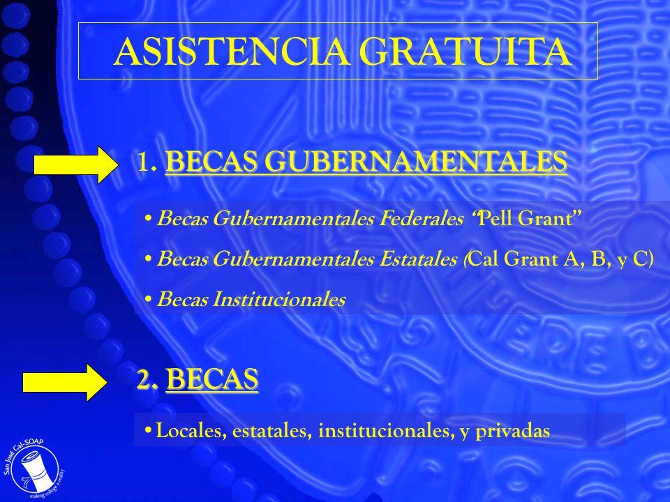 ASISTENCIA GRATUITA BECAS GUBERNAMENTALES 1. BECAS GUBERNAMENTALES 2.