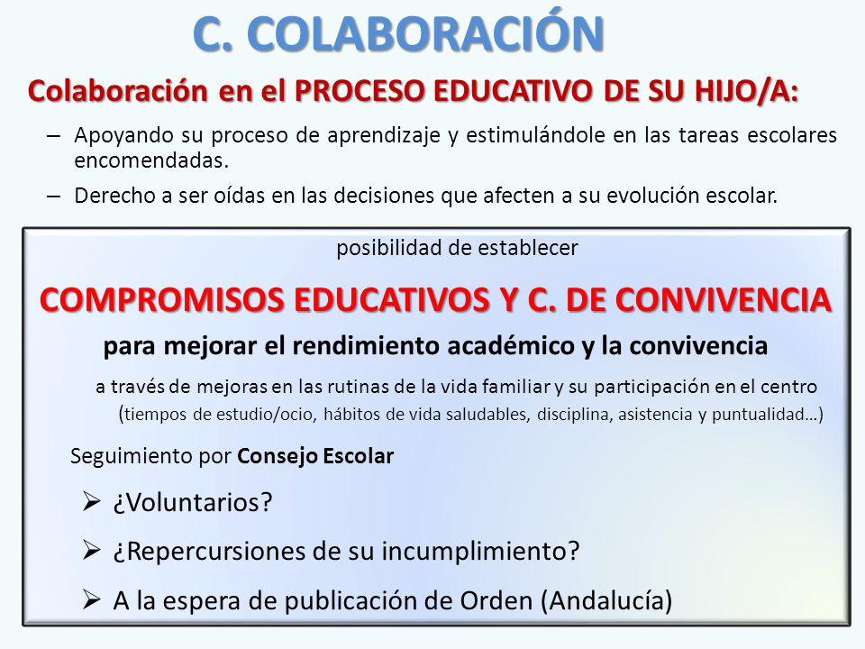 Colaboración en el PROCESO EDUCATIVO DE SU HIJO/A: – Apoyando su proceso de aprendizaje y estimulándole en las tareas escolares encomendadas.
