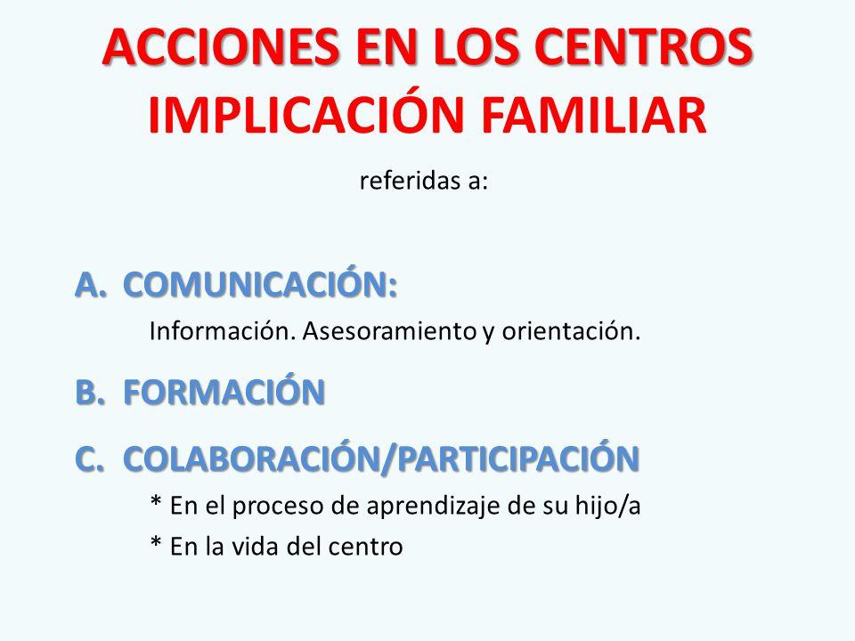 ACCIONES EN LOS CENTROS ACCIONES EN LOS CENTROS IMPLICACIÓN FAMILIAR referidas a: A.COMUNICACIÓN: Información.