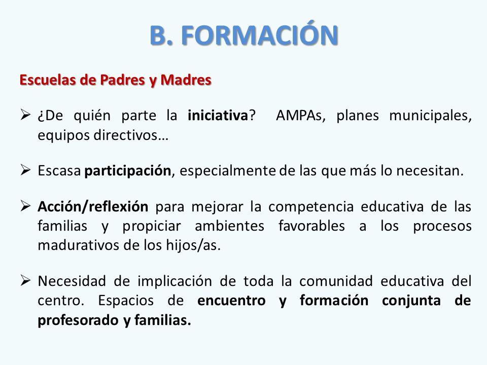 B. FORMACIÓN Escuelas de Padres y Madres  ¿De quién parte la iniciativa.