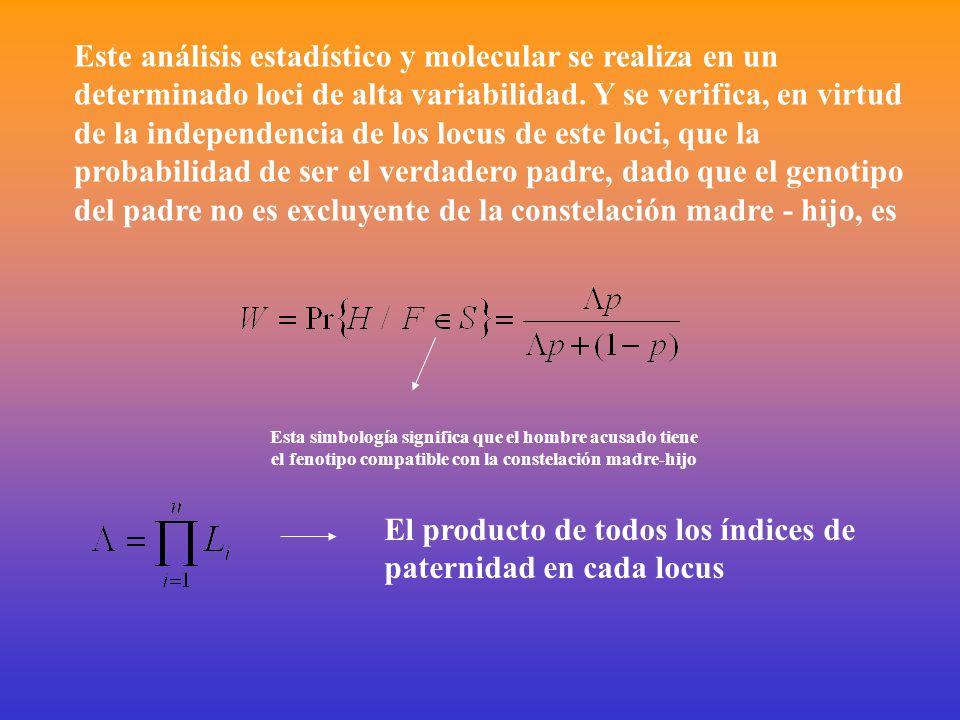Este análisis estadístico y molecular se realiza en un determinado loci de alta variabilidad.