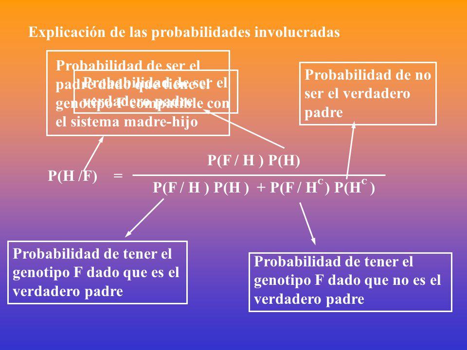 Explicación de las probabilidades involucradas P(H /F)= P(F / H ) P(H) P(F / H ) P(H ) + P(F / H C ) P(H C ) Probabilidad de ser el padre dado que tiene el genotipo F compatible con el sistema madre-hijo Probabilidad de ser el verdadero padre Probabilidad de no ser el verdadero padre Probabilidad de tener el genotipo F dado que no es el verdadero padre Probabilidad de tener el genotipo F dado que es el verdadero padre