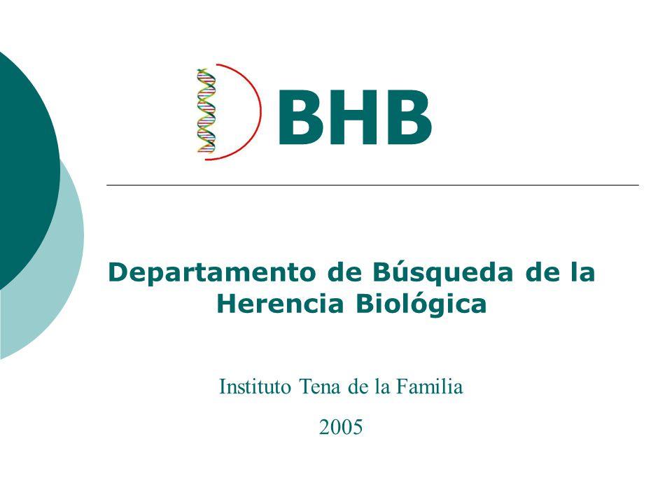 Departamento de Búsqueda de la Herencia Biológica BHB Instituto Tena de la Familia 2005