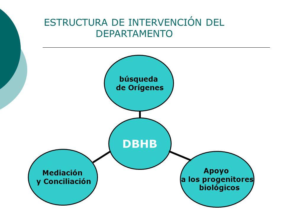 ESTRUCTURA DE INTERVENCIÓN DEL DEPARTAMENTO DBHB búsqueda de Orígenes Apoyo a los progenitores biológicos Mediación y Conciliación
