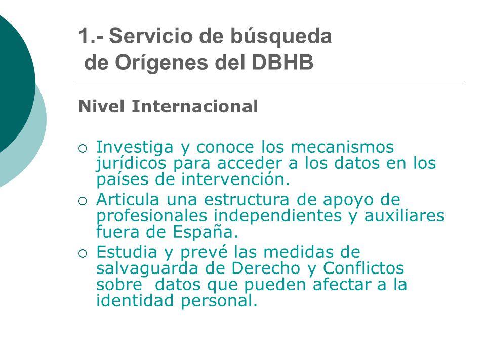 1.- Servicio de búsqueda de Orígenes del DBHB Nivel Internacional  Investiga y conoce los mecanismos jurídicos para acceder a los datos en los países de intervención.