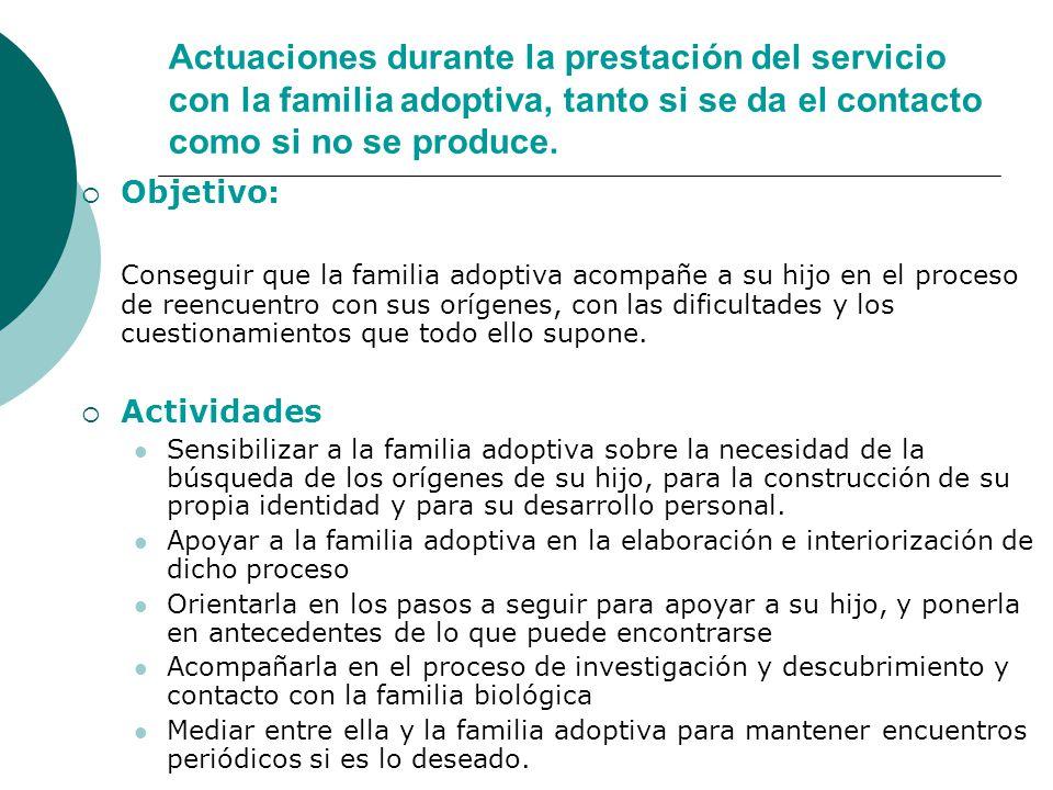 Actuaciones durante la prestación del servicio con la familia adoptiva, tanto si se da el contacto como si no se produce.