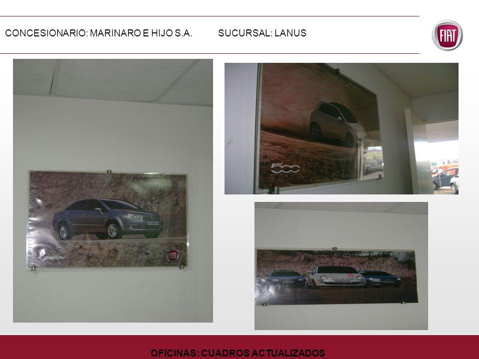 CONCESIONARIO: MARINARO E HIJO S.A.SUCURSAL: LANUS OFICINAS: CUADROS ACTUALIZADOS