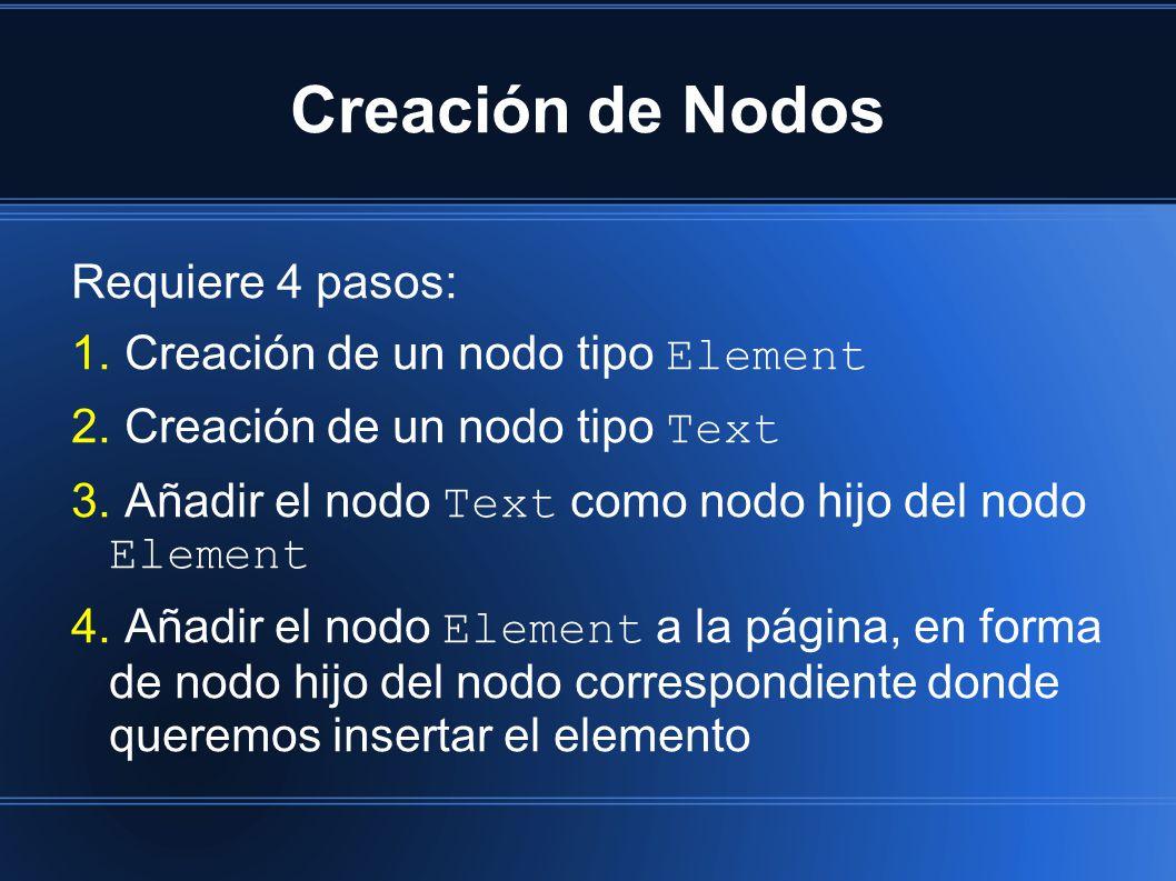 Creación de Nodos Requiere 4 pasos: 1. Creación de un nodo tipo Element 2.