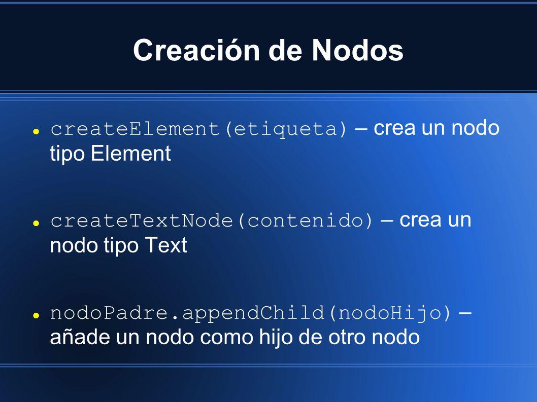 Creación de Nodos createElement(etiqueta) – crea un nodo tipo Element createTextNode(contenido) – crea un nodo tipo Text nodoPadre.appendChild(nodoHijo) – añade un nodo como hijo de otro nodo