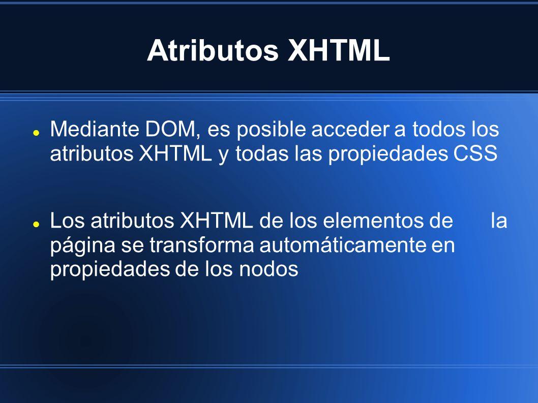 Atributos XHTML Mediante DOM, es posible acceder a todos los atributos XHTML y todas las propiedades CSS Los atributos XHTML de los elementos dela página se transforma automáticamente en propiedades de los nodos