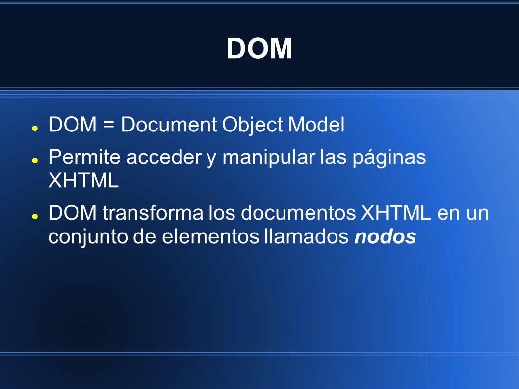 DOM = Document Object Model Permite acceder y manipular las páginas XHTML DOM transforma los documentos XHTML en un conjunto de elementos llamados nodos