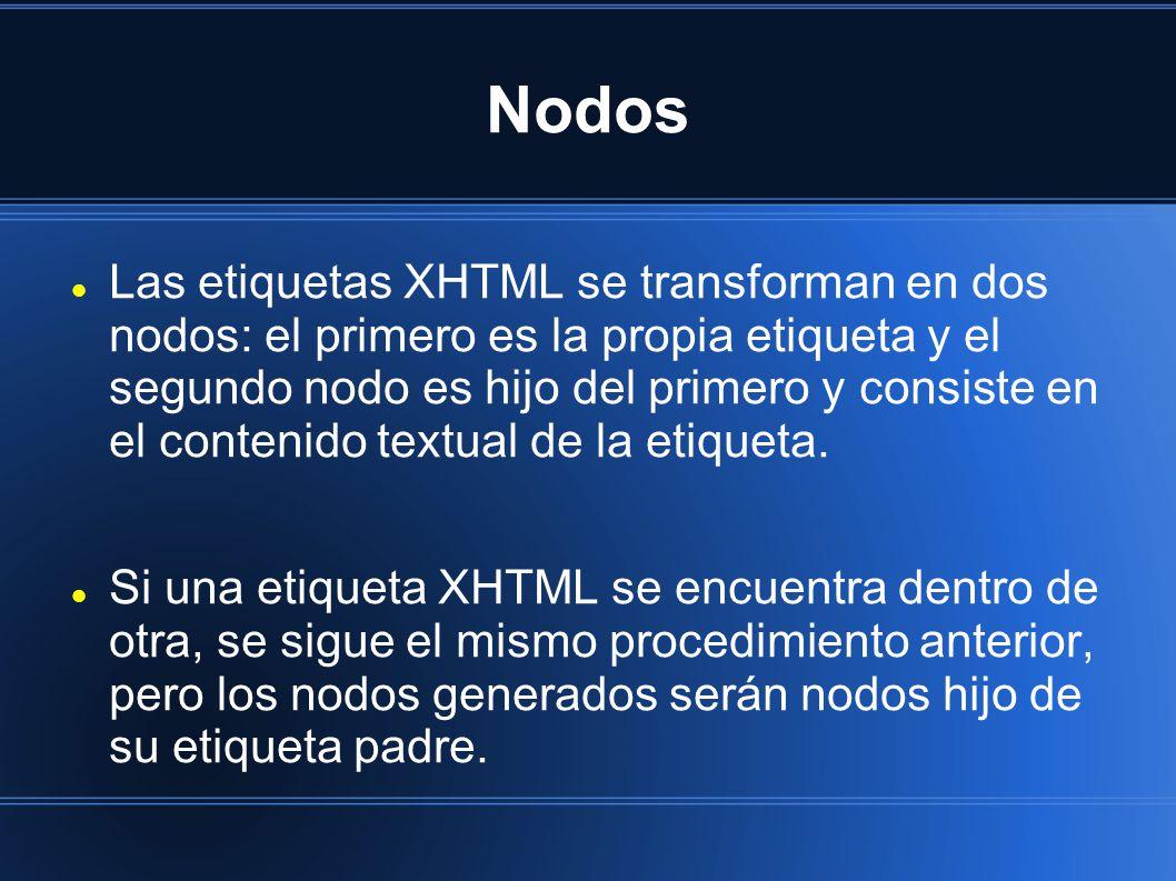 Nodos Las etiquetas XHTML se transforman en dos nodos: el primero es la propia etiqueta y el segundo nodo es hijo del primero y consiste en el contenido textual de la etiqueta.