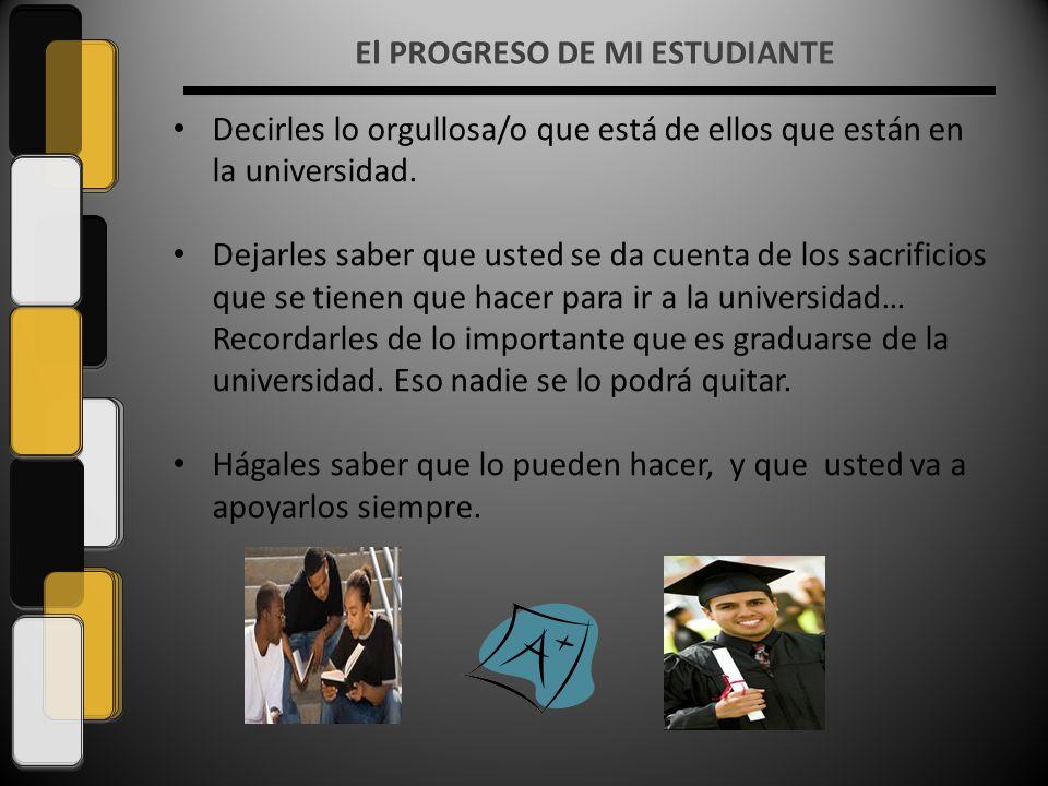 El PROGRESO DE MI ESTUDIANTE Decirles lo orgullosa/o que está de ellos que están en la universidad.