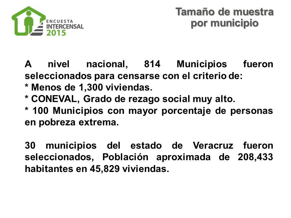 A nivel nacional, 814 Municipios fueron seleccionados para censarse con el criterio de: * Menos de 1,300 viviendas.