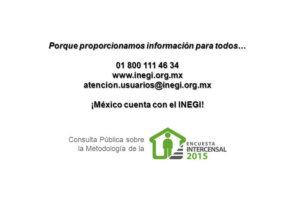 Consulta Pública sobre la Metodología de la Porque proporcionamos información para todos… 01 800 111 46 34 www.inegi.org.mx atencion.usuarios@inegi.org.mx ¡México cuenta con el INEGI!