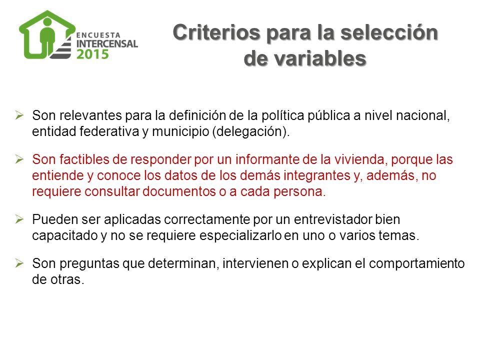 Criterios para la selección de variables  Son relevantes para la definición de la política pública a nivel nacional, entidad federativa y municipio (delegación).