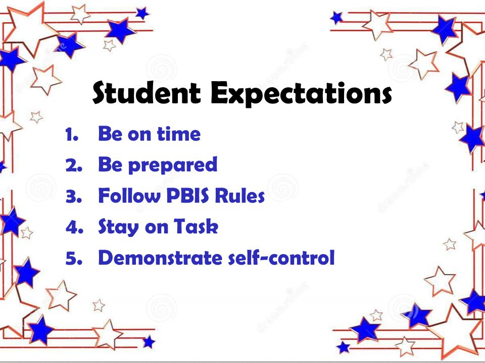 Student Expectations 1.Be on time 2.Be prepared 3.Follow PBIS Rules 4.Stay on Task 5.Demonstrate self-control