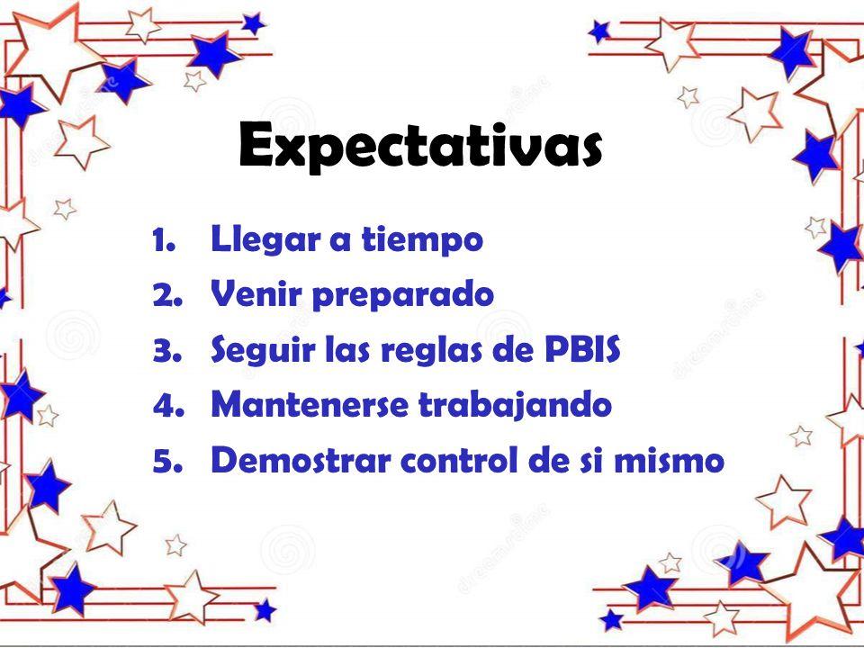 Expectativas 1.Llegar a tiempo 2.Venir preparado 3.Seguir las reglas de PBIS 4.Mantenerse trabajando 5.Demostrar control de si mismo