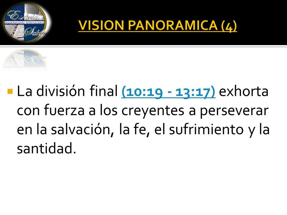  La división final (10:19 - 13:17) exhorta con fuerza a los creyentes a perseverar en la salvación, la fe, el sufrimiento y la santidad.(10:19 - 13:17)