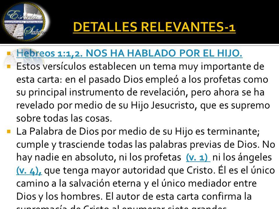  Hebreos 1:1,2. NOS HA HABLADO POR EL HIJO. Hebreos 1:1,2.