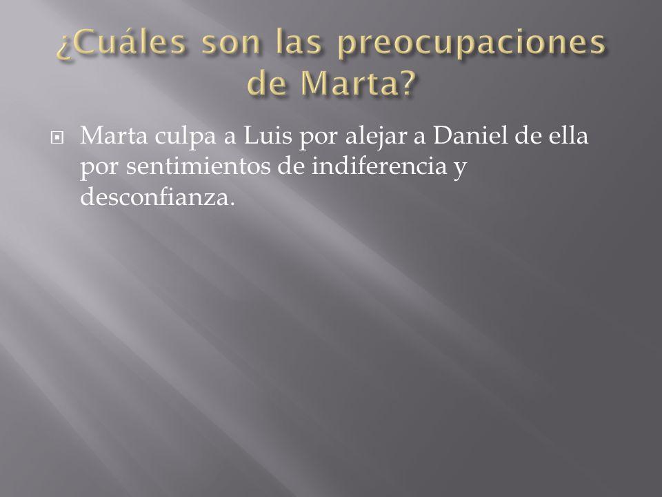  Marta culpa a Luis por alejar a Daniel de ella por sentimientos de indiferencia y desconfianza.