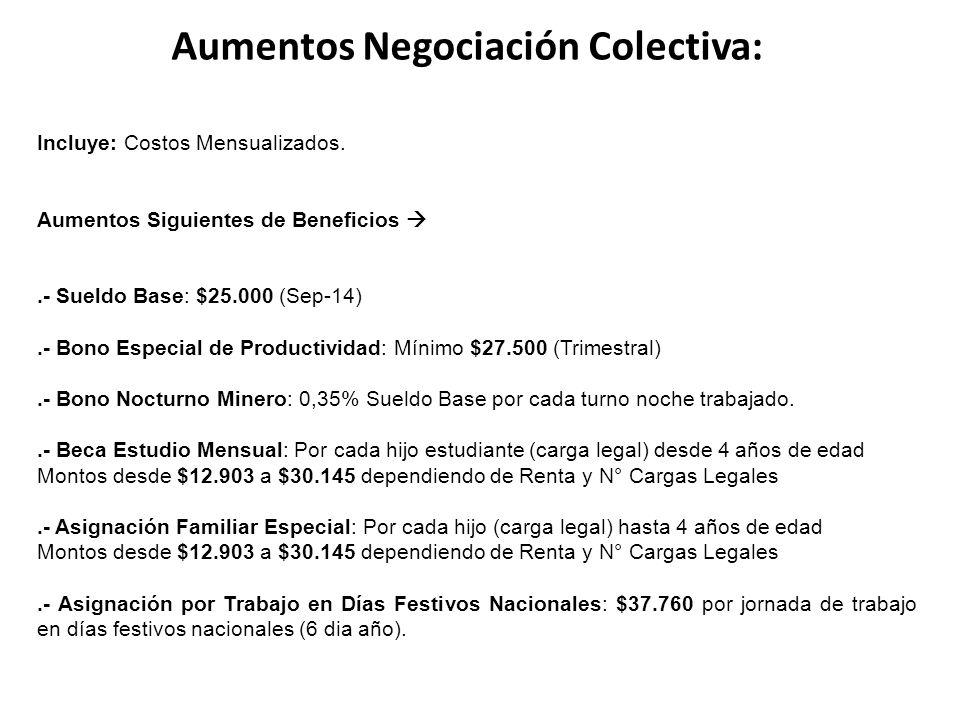 Aumentos Negociación Colectiva: Incluye: Costos Mensualizados.