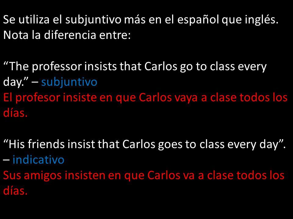 Se utiliza el subjuntivo más en el español que inglés.