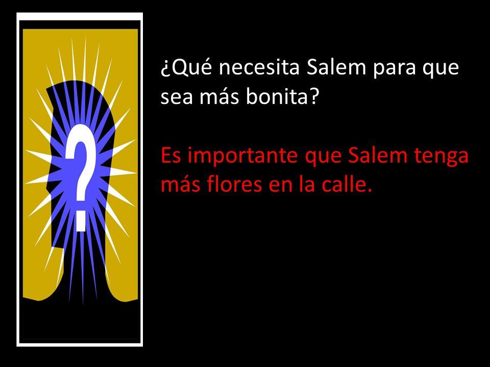 ¿Qué necesita Salem para que sea más bonita Es importante que Salem tenga más flores en la calle.