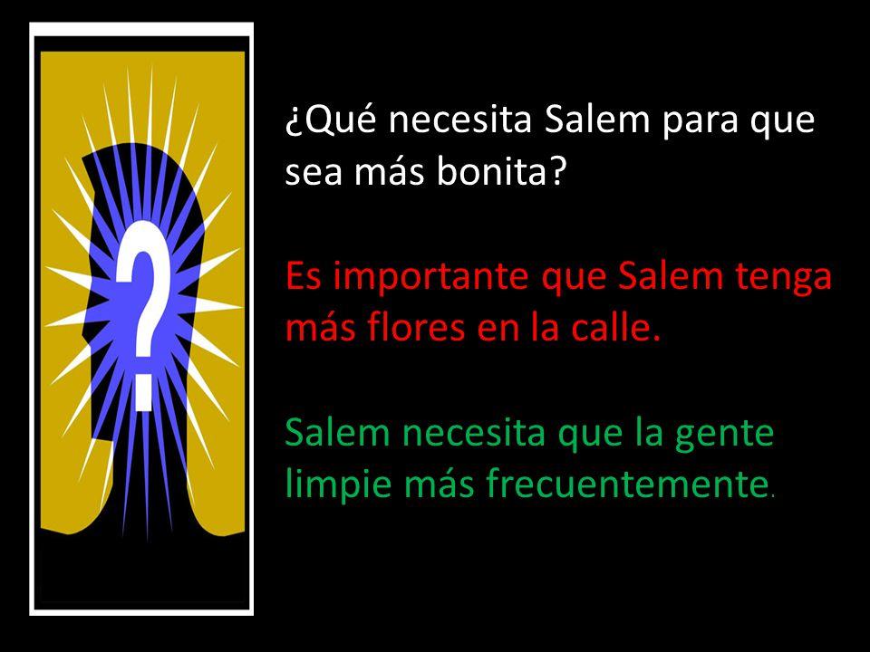 ¿Qué necesita Salem para que sea más bonita. Es importante que Salem tenga más flores en la calle.
