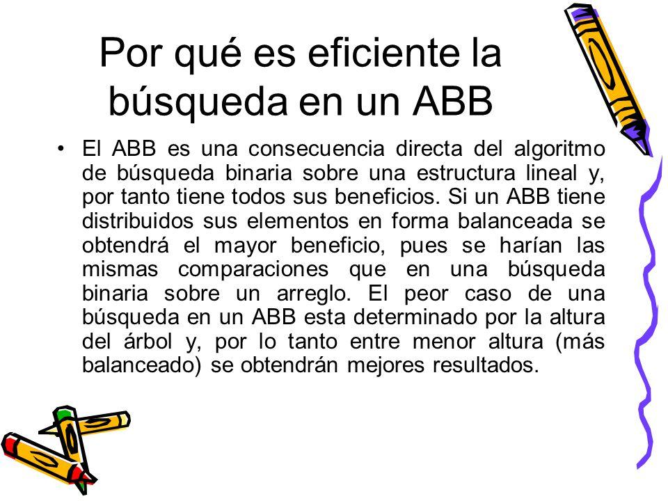 Por qué es eficiente la búsqueda en un ABB El ABB es una consecuencia directa del algoritmo de búsqueda binaria sobre una estructura lineal y, por tanto tiene todos sus beneficios.