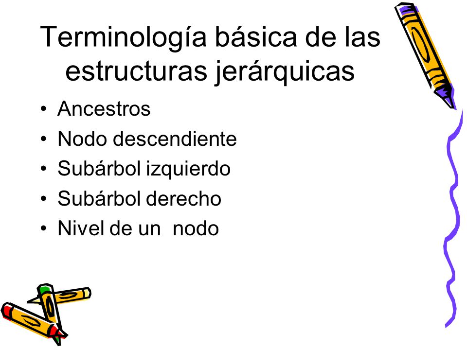 Terminología básica de las estructuras jerárquicas Ancestros Nodo descendiente Subárbol izquierdo Subárbol derecho Nivel de un nodo