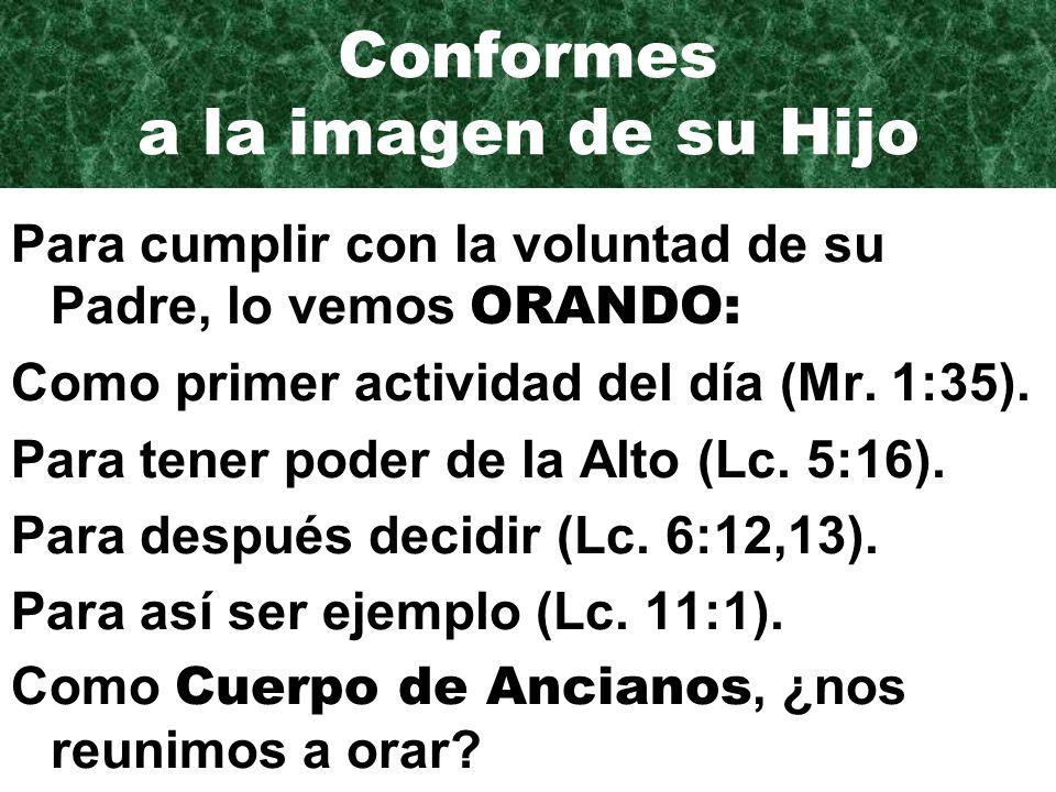 Conformes a la imagen de su Hijo Para cumplir con la voluntad de su Padre, lo vemos ORANDO: Como primer actividad del día (Mr.