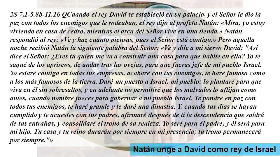 CUARTO DOMINGO AL NACER EL HIJO, EL CIELO DEJA CAER EL ROCÍO 1a lectura: Tu reinado, David, durará para siempre.