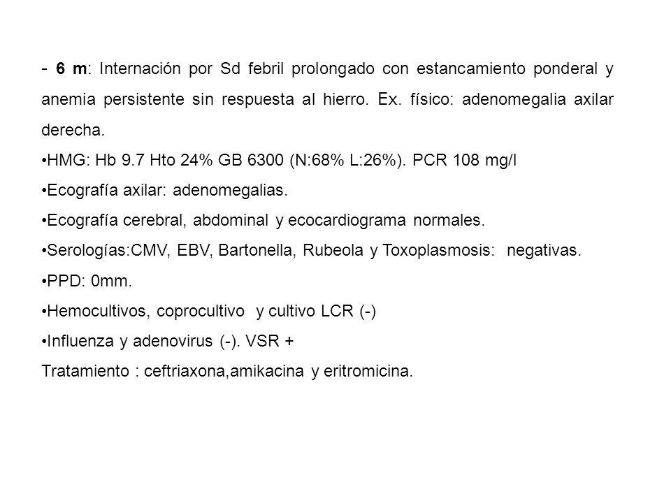- 6 m: Internación por Sd febril prolongado con estancamiento ponderal y anemia persistente sin respuesta al hierro.