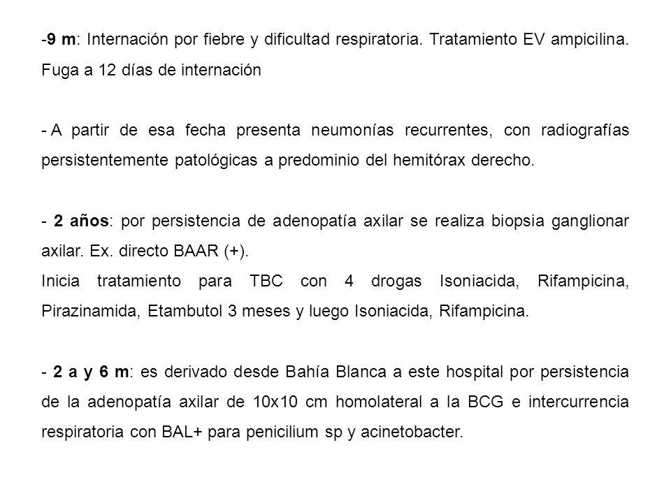 -9 m: Internación por fiebre y dificultad respiratoria.
