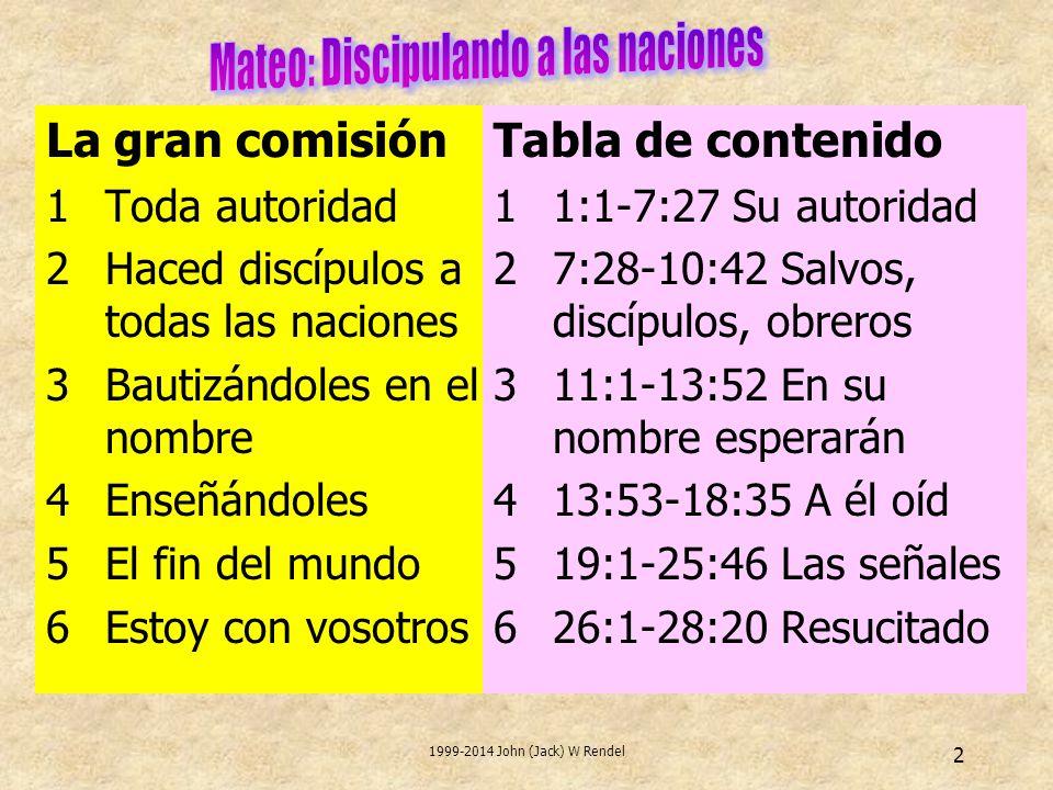 2 La gran comisión 1Toda autoridad 2Haced discípulos a todas las naciones 3Bautizándoles en el nombre 4Enseñándoles 5El fin del mundo 6Estoy con vosotros Tabla de contenido 11:1-7:27 Su autoridad 27:28-10:42 Salvos, discípulos, obreros 311:1-13:52 En su nombre esperarán 413:53-18:35 A él oíd 519:1-25:46 Las señales 626:1-28:20 Resucitado