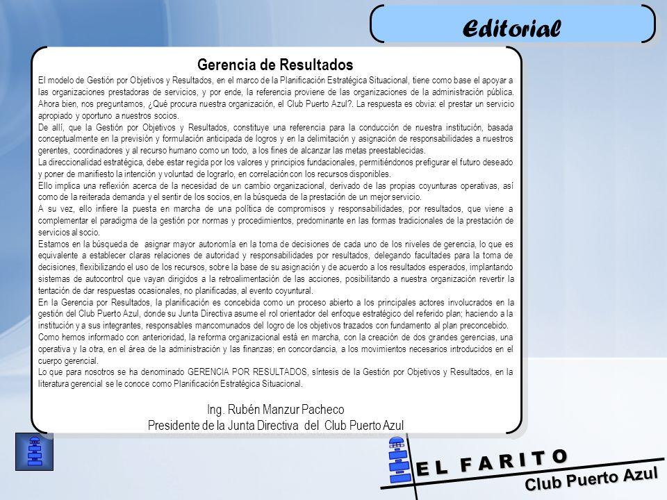 Club Puerto Azul E L F A R I T O Editorial Gerencia de Resultados El modelo de Gestión por Objetivos y Resultados, en el marco de la Planificación Estratégica Situacional, tiene como base el apoyar a las organizaciones prestadoras de servicios, y por ende, la referencia proviene de las organizaciones de la administración pública.