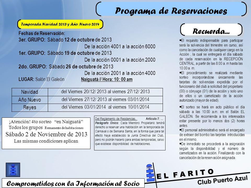 Club Puerto Azul E L F A R I T O Programa de Reservaciones Comprometidos con la Información al Socio Fechas de Reservación: 3er.