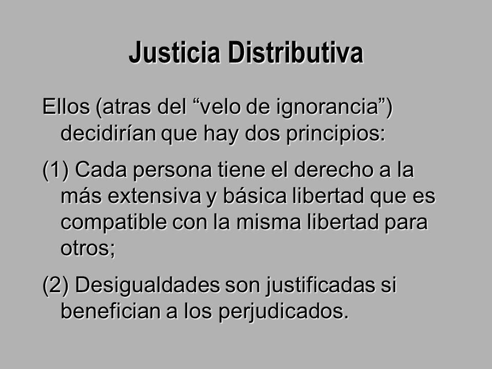 Justicia Distributiva Ellos (atras del velo de ignorancia ) decidirían que hay dos principios: (1) Cada persona tiene el derecho a la más extensiva y básica libertad que es compatible con la misma libertad para otros; (2) Desigualdades son justificadas si benefician a los perjudicados.