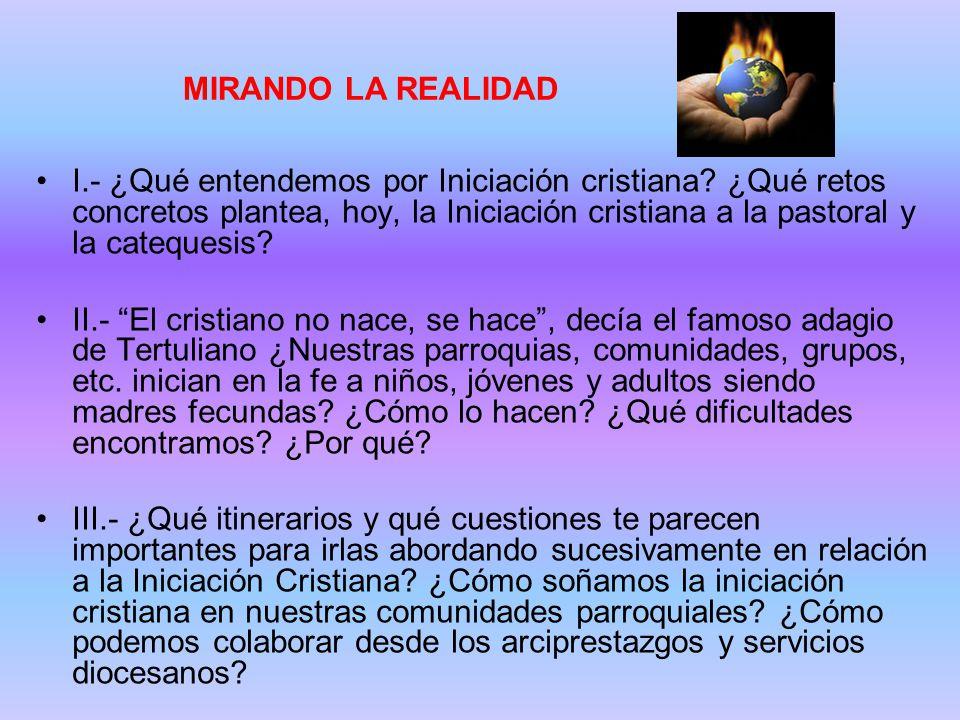 MIRANDO LA REALIDAD I.- ¿Qué entendemos por Iniciación cristiana.