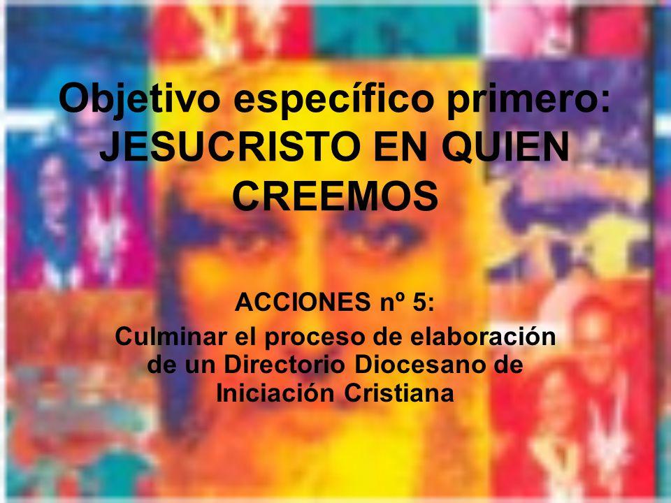 Objetivo específico primero: JESUCRISTO EN QUIEN CREEMOS ACCIONES nº 5: Culminar el proceso de elaboración de un Directorio Diocesano de Iniciación Cristiana