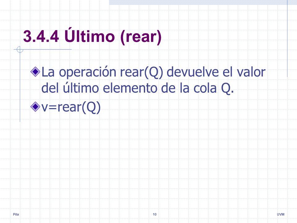 Pila10UVM 3.4.4 Último (rear) La operación rear(Q) devuelve el valor del último elemento de la cola Q.