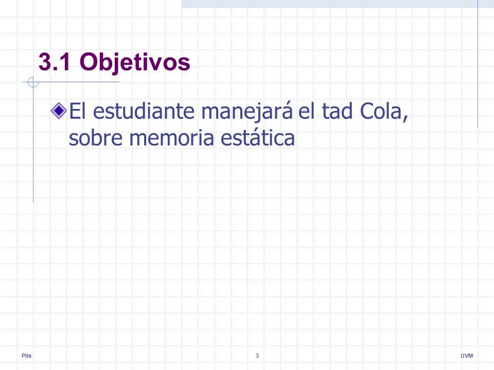 Pila3UVM 3.1 Objetivos El estudiante manejará el tad Cola, sobre memoria estática