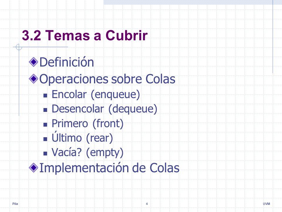 Pila4UVM 3.2 Temas a Cubrir Definición Operaciones sobre Colas Encolar (enqueue) Desencolar (dequeue) Primero (front) Último (rear) Vacía.